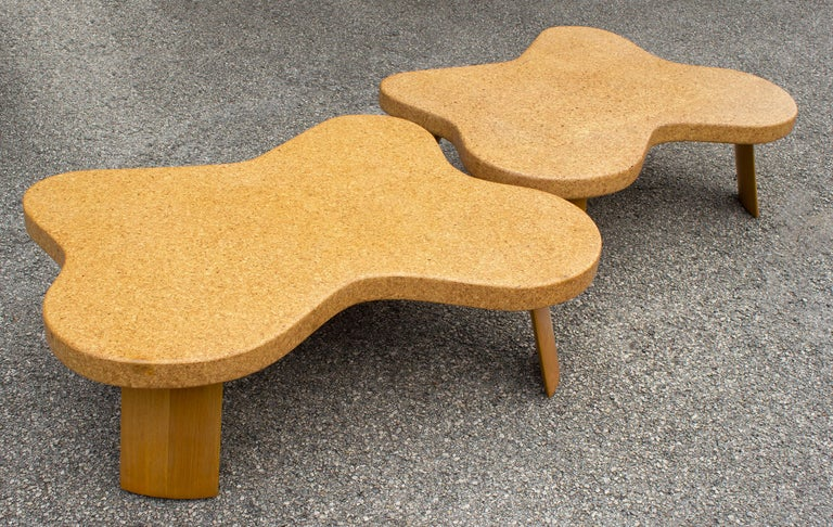 Paul Frankl Cloud Coffee Tables in Natural Cork and Bleached Mahogany -Pair 1951 For Sale 1