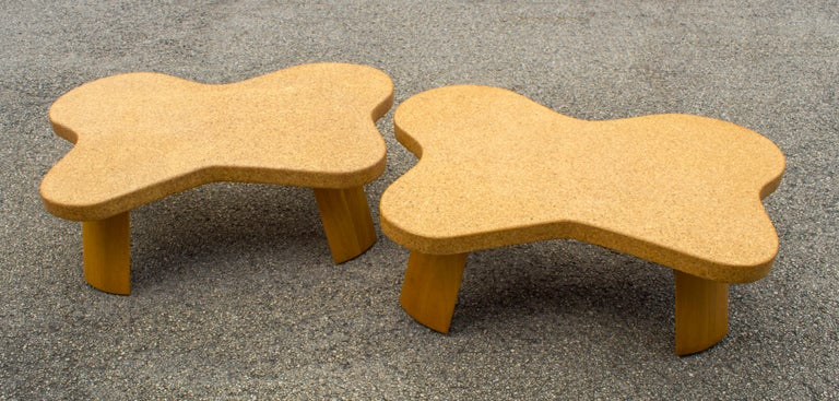 Paul Frankl Cloud Coffee Tables in Natural Cork and Bleached Mahogany -Pair 1951 For Sale 2