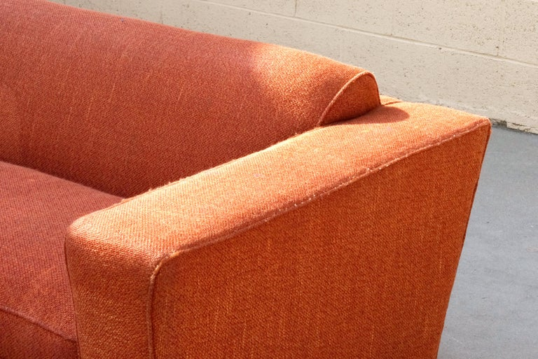 Upholstery Paul Frankl Club Sofa, Original 1940s For Sale