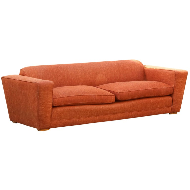 Paul Frankl Club Sofa, Original 1940s For Sale