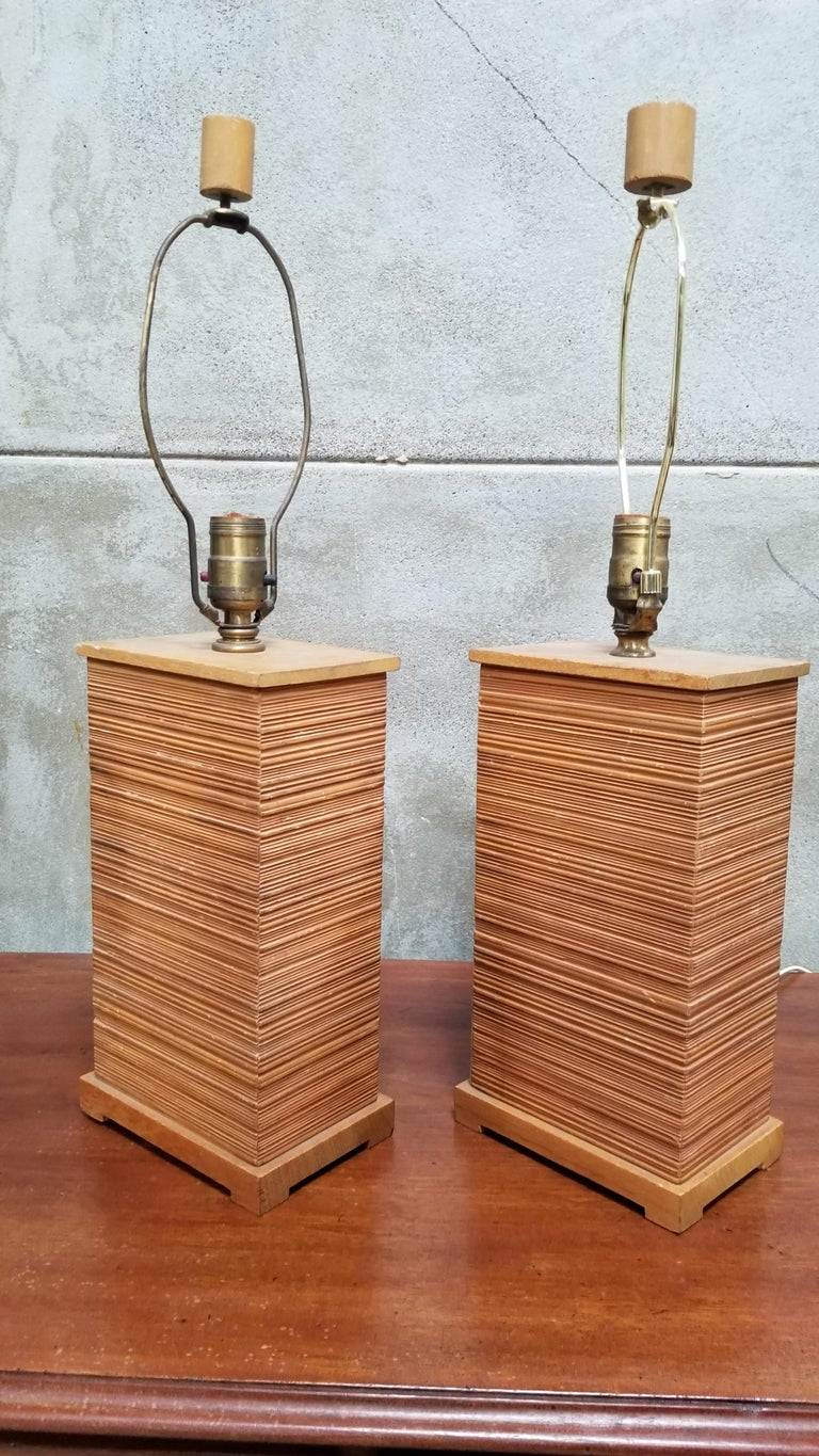 Paul Frankl Combed Fir Table Lamps, a Pair For Sale 4