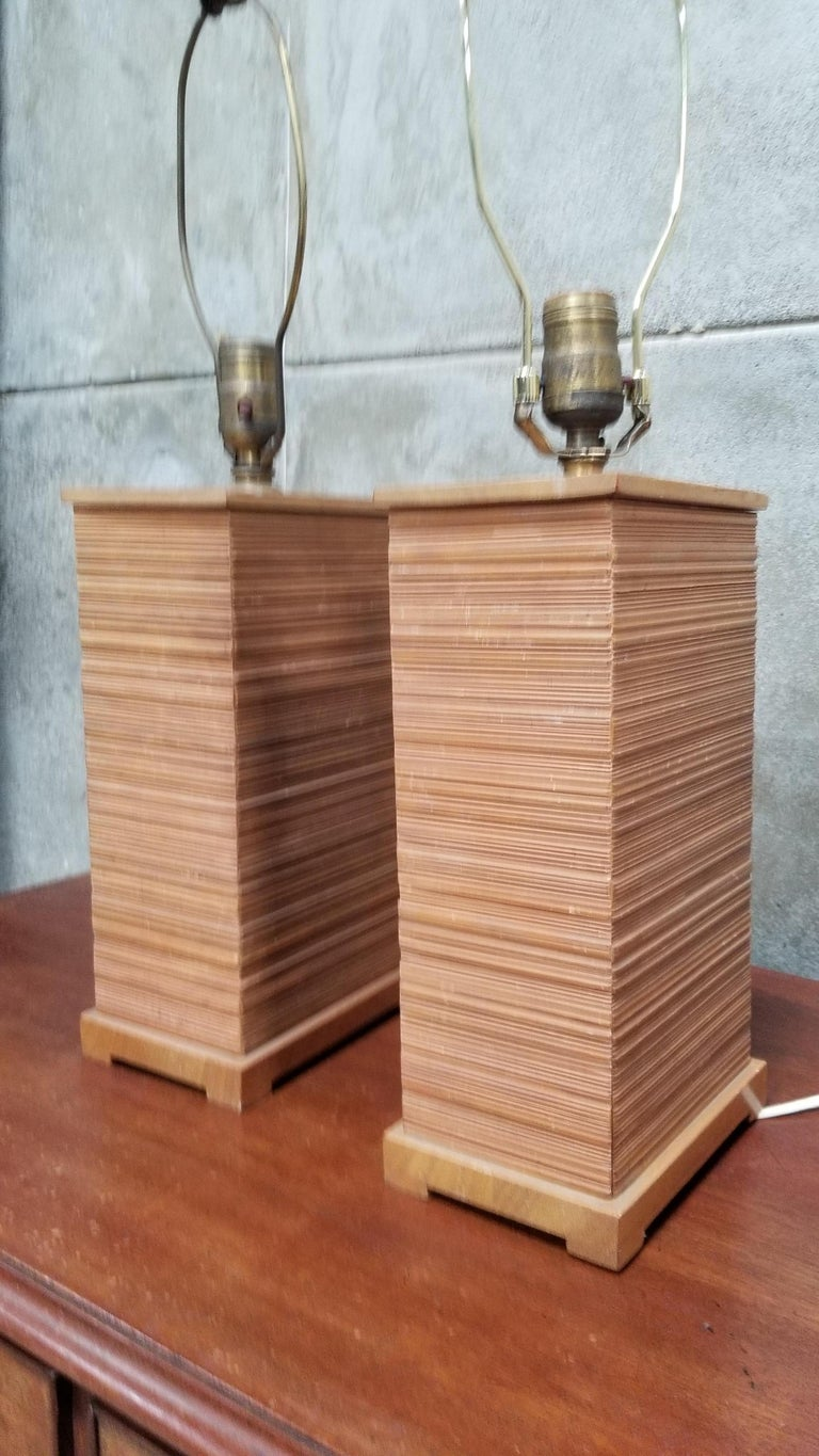 American Paul Frankl Combed Fir Table Lamps, a Pair For Sale