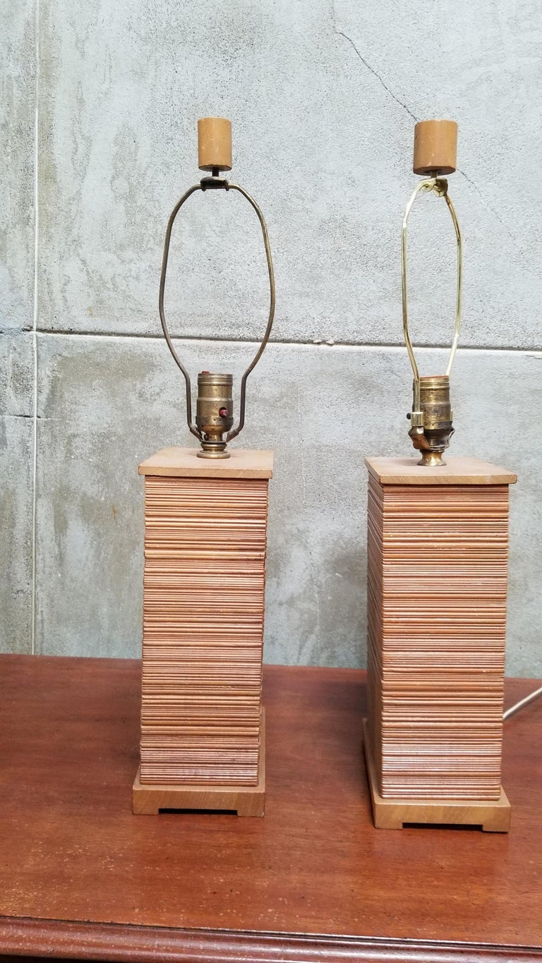 Paul Frankl Combed Fir Table Lamps, a Pair In Good Condition For Sale In Fulton, CA