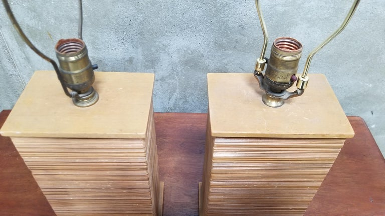 Wood Paul Frankl Combed Fir Table Lamps, a Pair For Sale