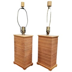 Paul Frankl Combed Fir Table Lamps, a Pair