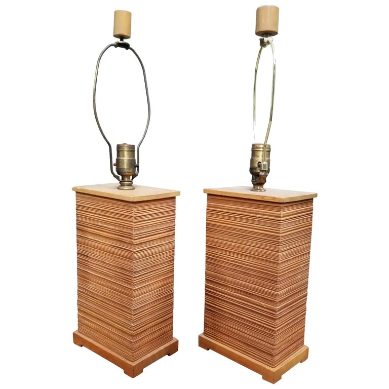Paul Frankl Combed Fir Table Lamps, a Pair For Sale