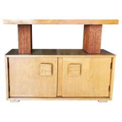 Paul Frankl Combed Wood Console Table Cabinet Brown Saltman