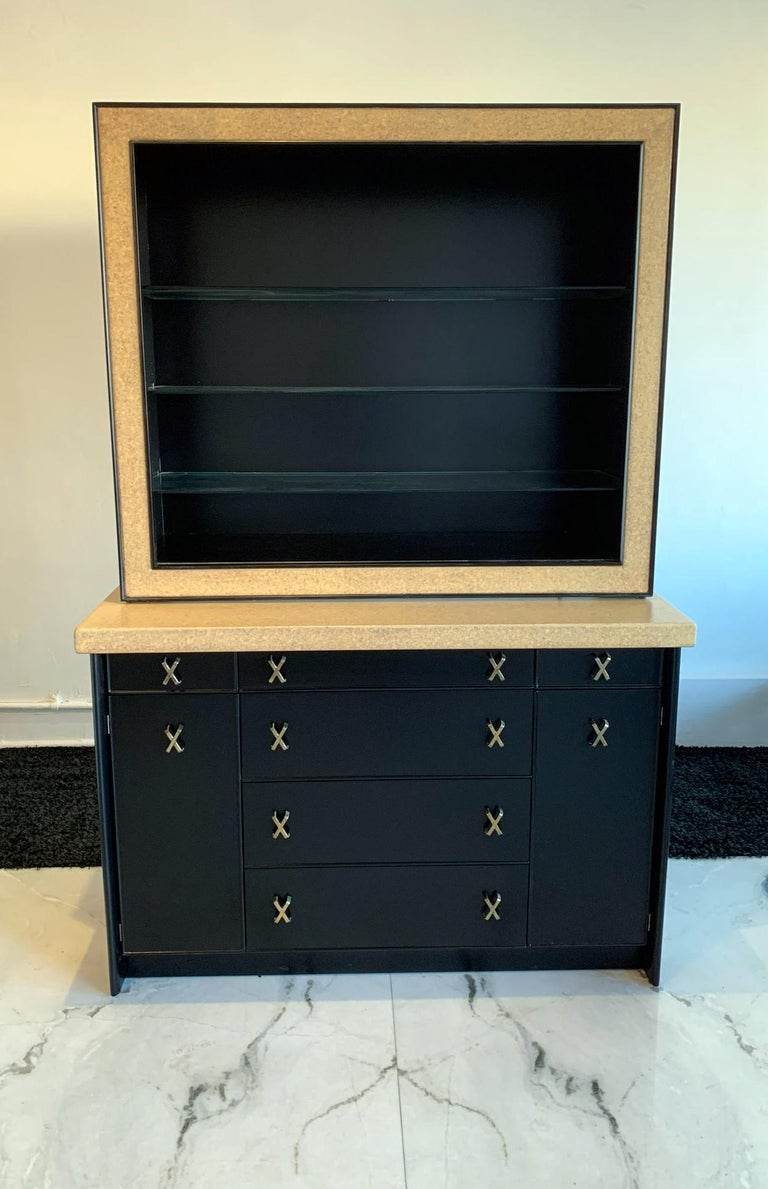 Mid-Century Modern Paul Frankl Cork and Ebonized Sideboard and Hutch for Johnson Furniture For Sale