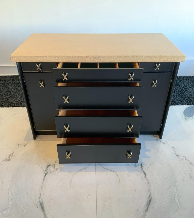 Mahogany Paul Frankl Cork and Ebonized Sideboard and Hutch for Johnson Furniture For Sale