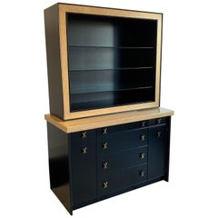 Paul Frankl Cork and Ebonized Sideboard and Hutch for Johnson Furniture