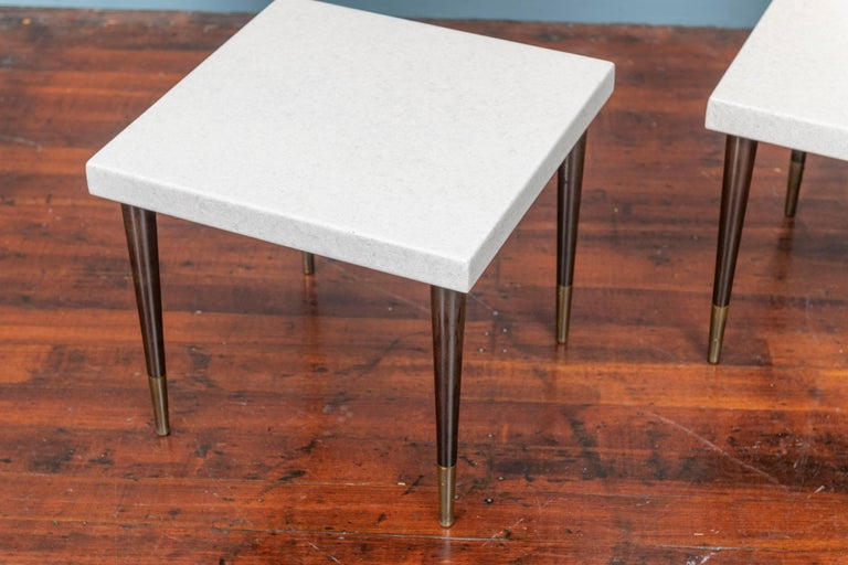 Paul Frankl cork top side tables for Johnson Furniture Co. Perfectly restored top and ready to install.