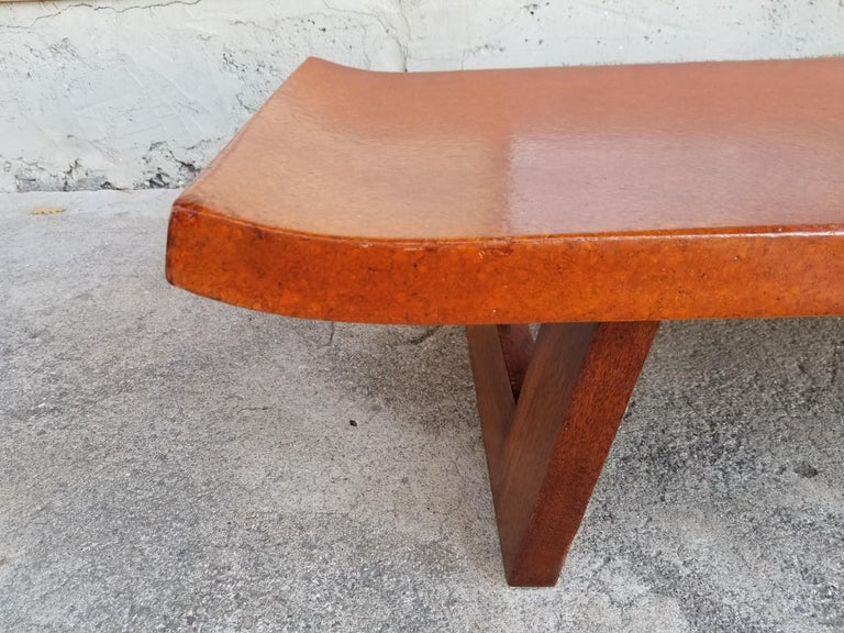 Paul Frankl Cork Top Coffee Table / Bench For Sale 2