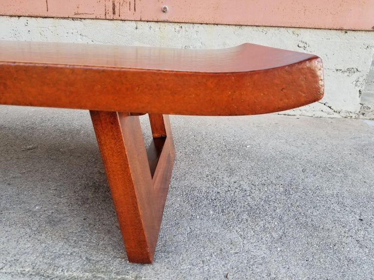 Paul Frankl Cork Top Coffee Table / Bench For Sale 3