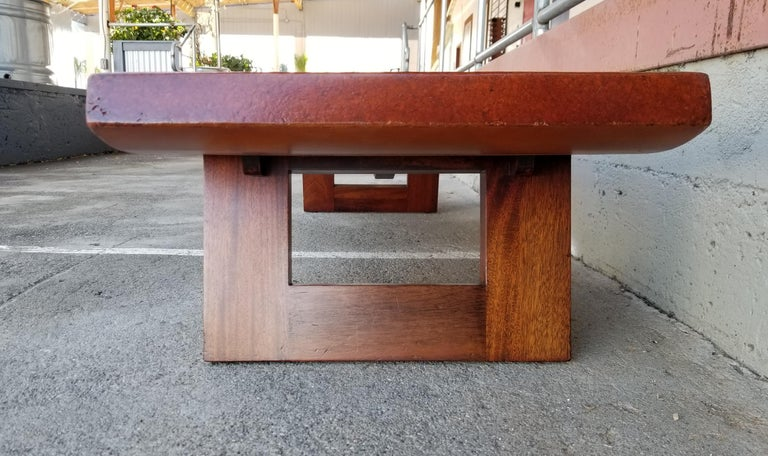 Paul Frankl Cork Top Coffee Table / Bench For Sale 4