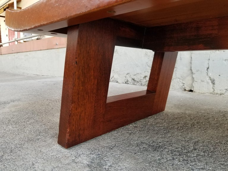 Paul Frankl Cork Top Coffee Table / Bench For Sale 5