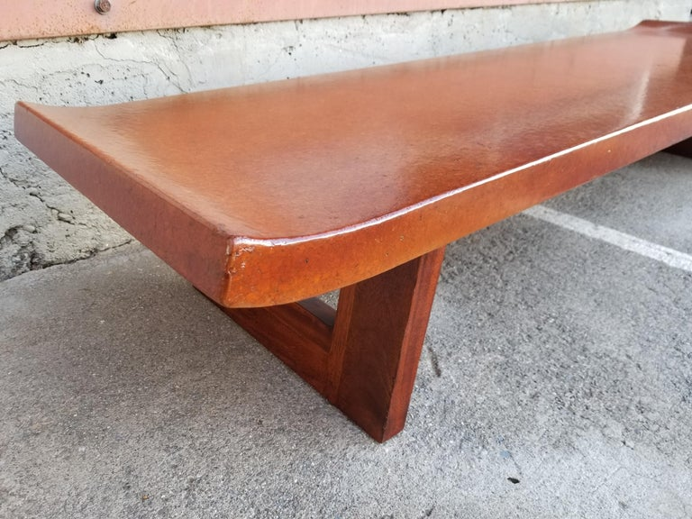 Lacquered Paul Frankl Cork Top Coffee Table / Bench For Sale