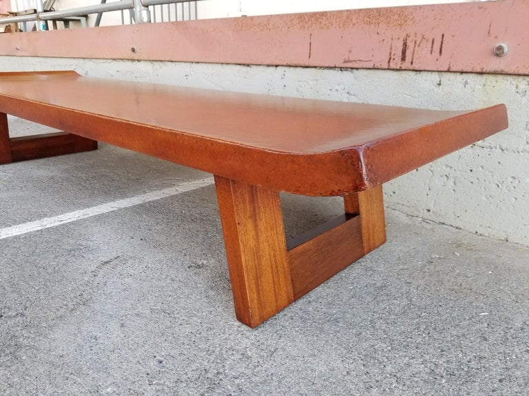 Paul Frankl Cork Top Coffee Table / Bench In Good Condition For Sale In Fulton, CA