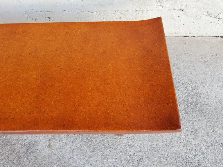 Mahogany Paul Frankl Cork Top Coffee Table / Bench For Sale