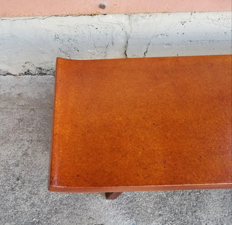 Paul Frankl Cork Top Coffee Table / Bench For Sale 1