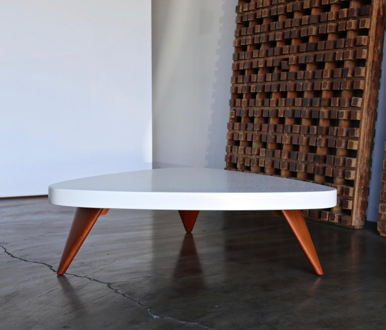 Paul Frankl cork top coffee table for Johnson Furniture, circa 1955. This piece has been professionally restored.