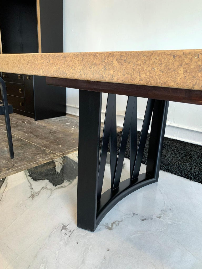 Mid-Century Modern Paul Frankl Cork Top Dining Table with Ebonized Frame and 2 Leaves For Sale