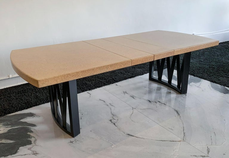 Paul Frankl Cork Top Dining Table with Ebonized Frame and 2 Leaves In Good Condition For Sale In Tempe, AZ