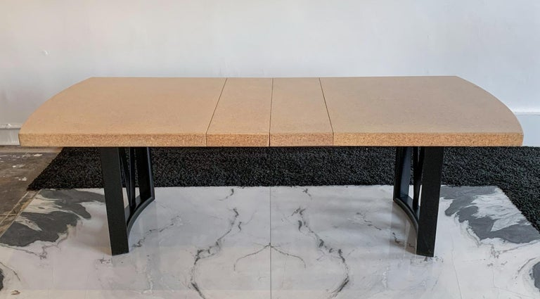 Mid-20th Century Paul Frankl Cork Top Dining Table with Ebonized Frame and 2 Leaves For Sale