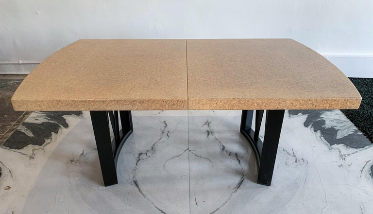 Paul Frankl Cork Top Dining Table with Ebonized Frame and 2 Leaves For Sale 1