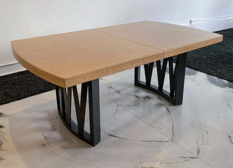 Paul Frankl Cork Top Dining Table with Ebonized Frame and 2 Leaves For Sale 2