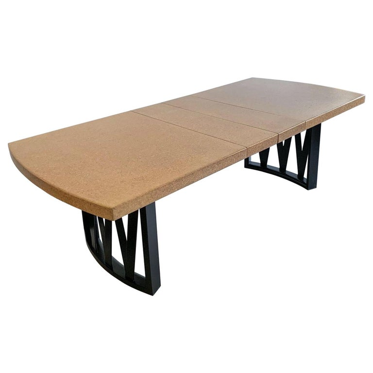 Paul Frankl Cork Top Dining Table with Ebonized Frame and 2 Leaves For Sale