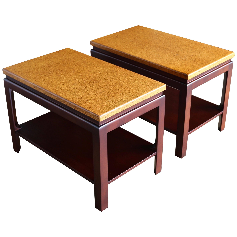 Paul Frankl Cork Top End Tables for Johnson Furniture