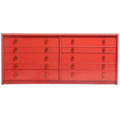 1950s Paul Frankl Moroccan Red Lacquered Double Dresser / Chest of Drawers