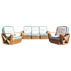 Paul Frankl Rattan Sectional Sofa and Two Lounge Chairs