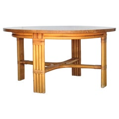 Paul Frankl Design Round Rattan Coffee Table