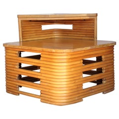 Paul Frankl Design Stacked Rattan Two Tiered Corner Table / Side Table