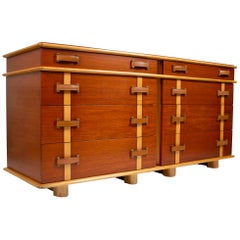 Paul Frankl Dresser & Mirror 'Station Wagon Series' in Mahogany Maple & Leather