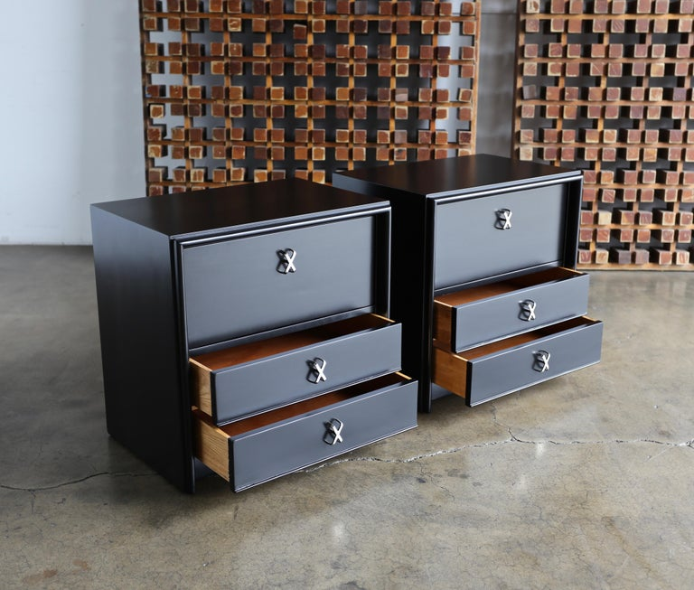 Mid-Century Modern Paul Frankl Ebonized Nightstands for Johnson Furniture Company, circa 1950 For Sale