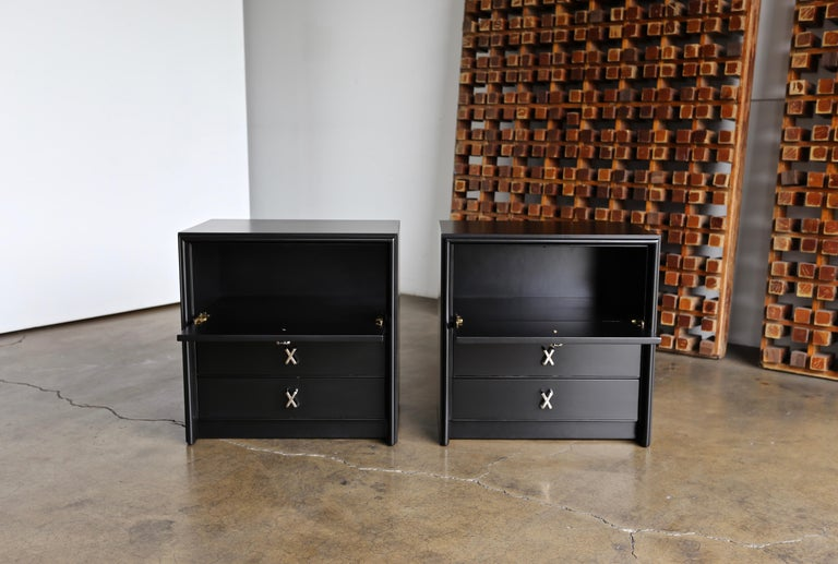 American Paul Frankl Ebonized Nightstands for Johnson Furniture Company, circa 1950 For Sale