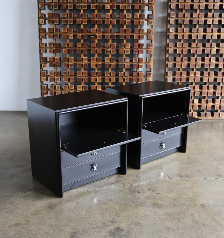 20th Century Paul Frankl Ebonized Nightstands for Johnson Furniture Company, circa 1950 For Sale