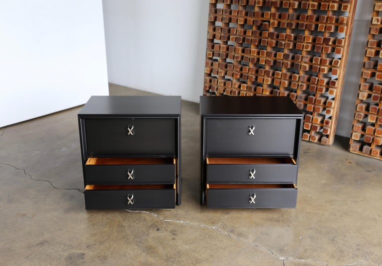 Nickel Paul Frankl Ebonized Nightstands for Johnson Furniture Company, circa 1950 For Sale