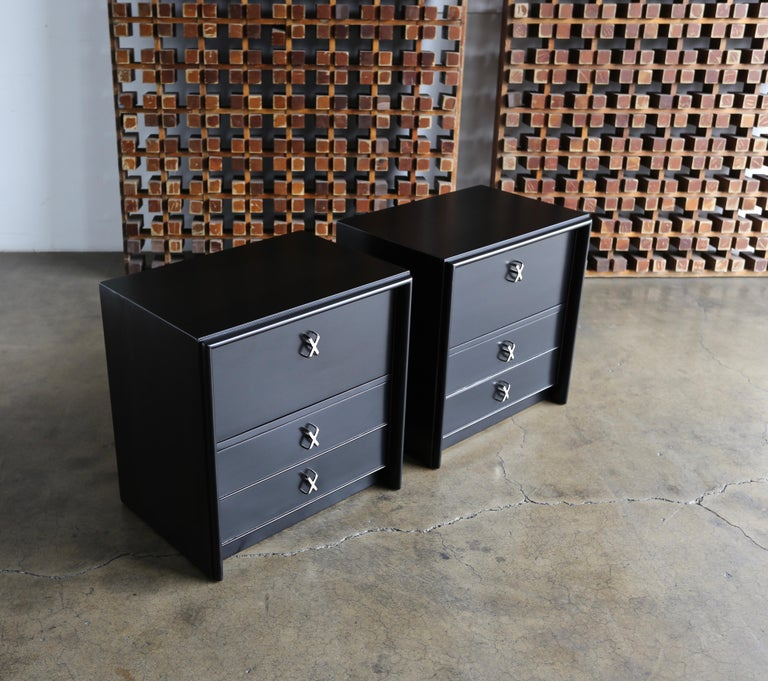 Paul Frankl Ebonized Nightstands for Johnson Furniture Company, circa 1950 For Sale 1