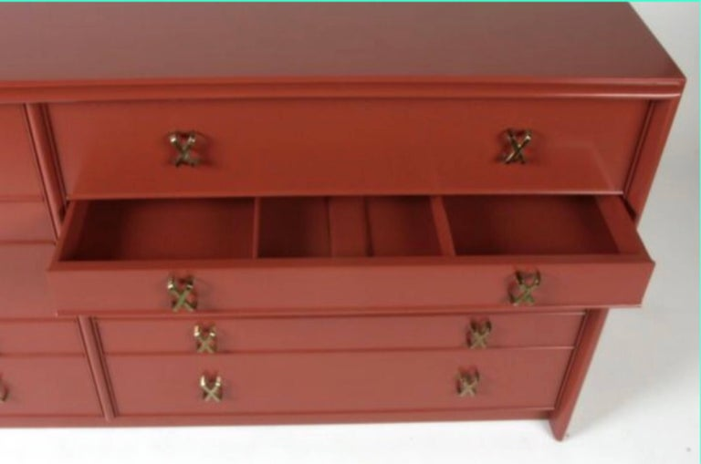 Mid-Century Modern Paul Frankl for Johnson Furniture Ten-Drawer Double Dresser Brass X Pulls For Sale