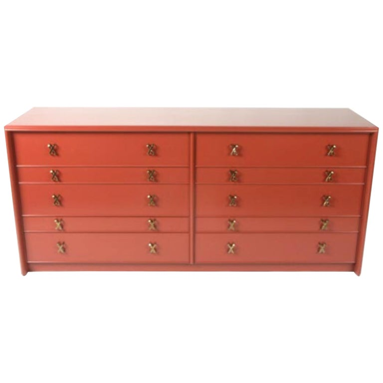 Paul Frankl for Johnson Furniture Ten-Drawer Double Dresser Brass X Pulls For Sale