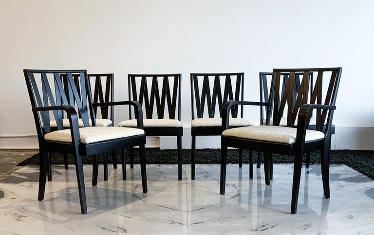 Ebonized Paul Frankl for Johnson Furniture Zig Zag Dining Chairs, Set of 6 For Sale