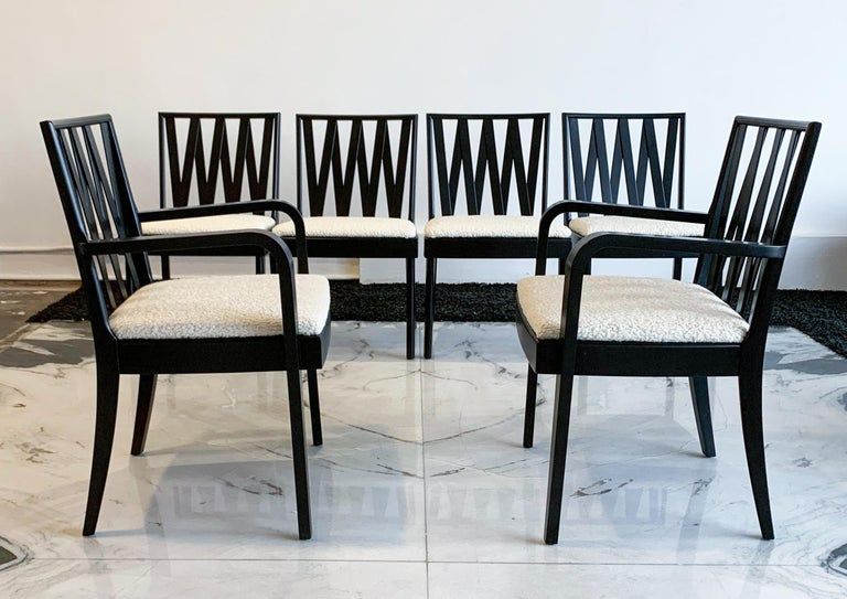 Paul Frankl for Johnson Furniture Zig Zag Dining Chairs, Set of 6 In Good Condition For Sale In Tempe, AZ