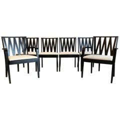 Paul Frankl for Johnson Furniture Zig Zag Dining Chairs, Set of 6