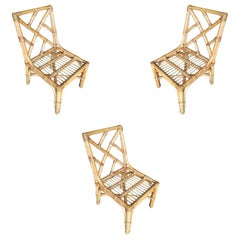 Paul Frankl Geometric Back Rattan Dining Chair, Set of Three