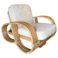 "Paul Frankl Inspired 5-Strand ""Reverse Pretzel"" Rattan Lounge Chair"
