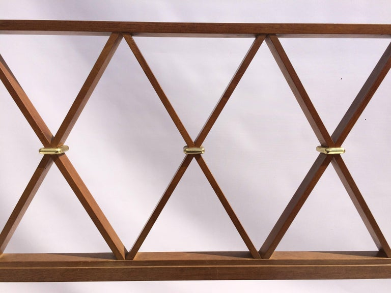 King-size headboard in walnut with brass details by Paul Frankl for Johnson Furniture. Headboard is being refinished.