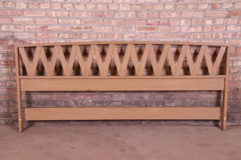 Mid-20th Century Paul Frankl Mid-Century Modern Bleached Mahogany King Size Headboard For Sale